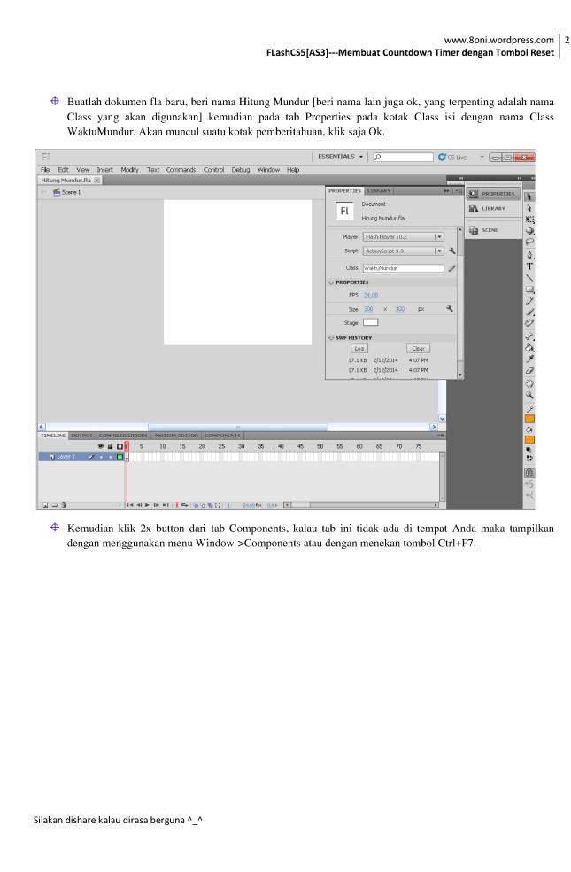 FlashCS5[AS3] --- Membuat Countdown Timer dengan Tombol Reset2