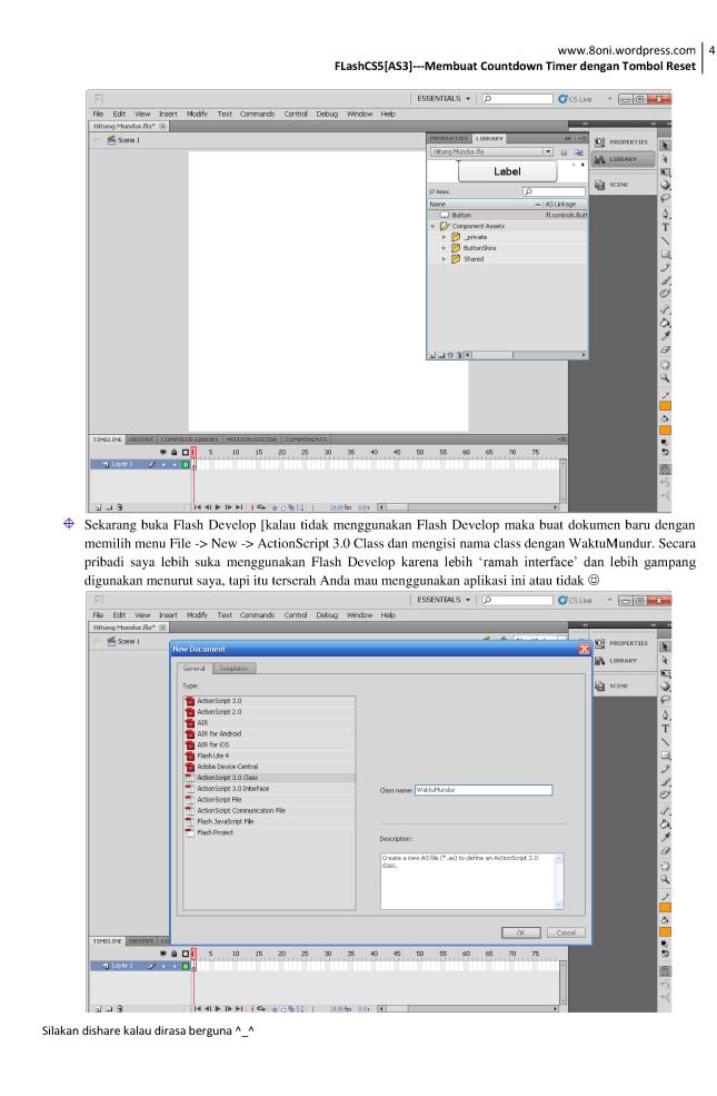 FlashCS5[AS3] --- Membuat Countdown Timer dengan Tombol Reset4