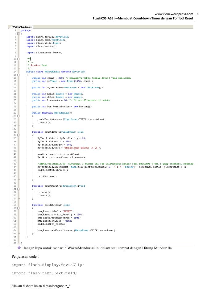 FlashCS5[AS3] --- Membuat Countdown Timer dengan Tombol Reset6